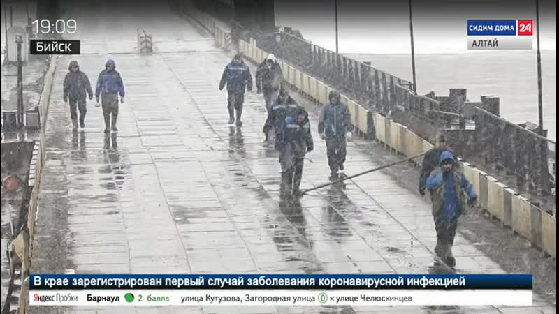 В Бийске развели понтонный мост через Бию