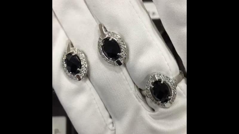 Комплект из серебра с чёрными агатами 💫💫💫