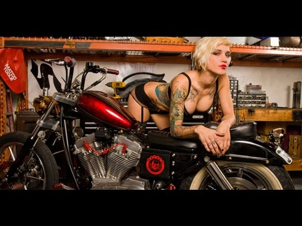 Custom Sportster Motorcycle and Hot Tattoo Model - Babes and Bikes