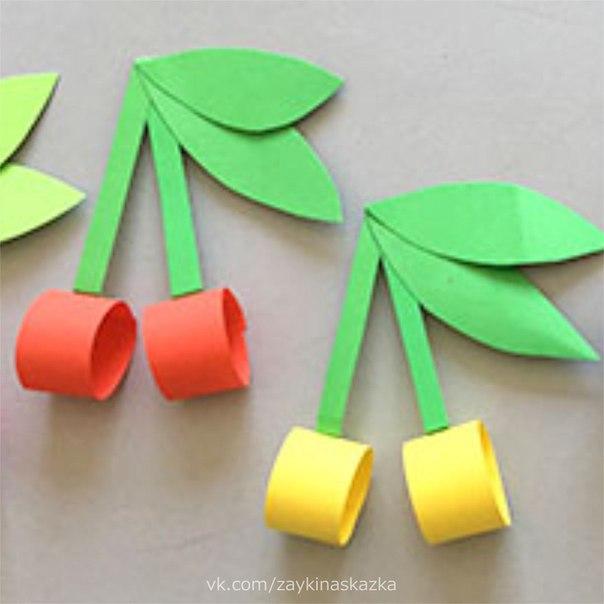 ВИШЕНКИ ИЗ БУМАГИ Бусы красные на ветке,Словно яркие конфетки.Так заманчиво горят,Привлекают птичек в сад.Т.