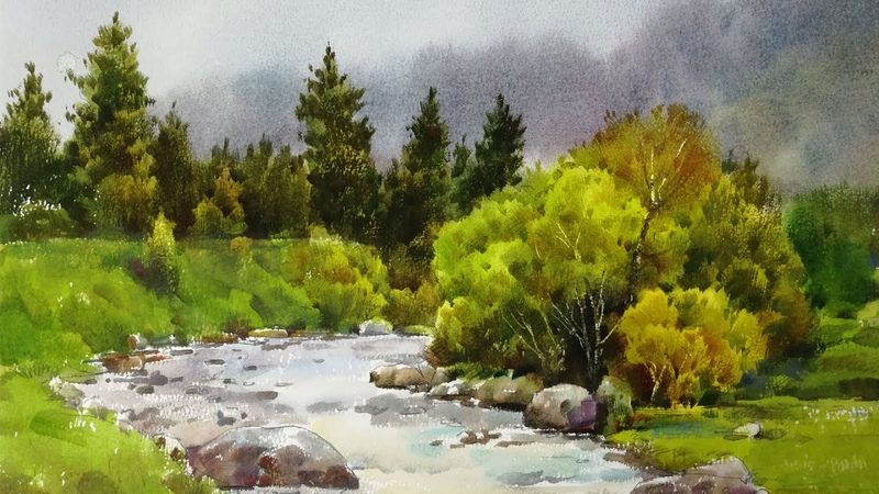 Watercolor landscape painting - Little Stream in the Forest