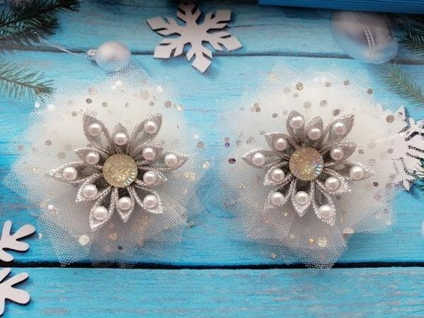 Новогодние бантики из фатина и парчи МК Канзаши Christmas ribbons bows Arcos de fitas de Natal