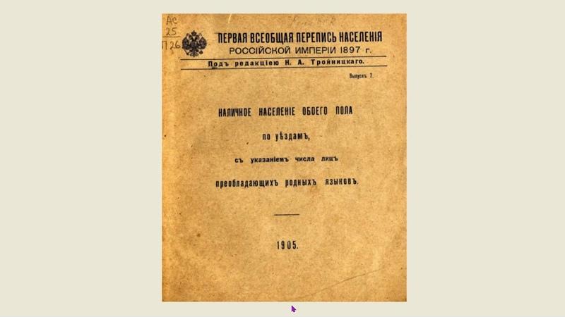 Кто ныне проживает на РОДна Земе РОДов РУСов (ПЕРЕПИСЬ от 28.01.1897)