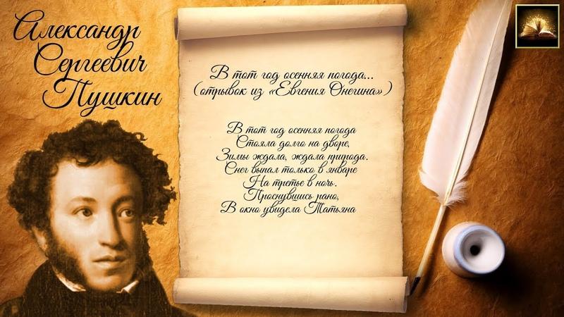 Стихотворение А С Пушкин Евгений Онегин В тот год осенняя погода Отрывок Стихи Русских Поэтов