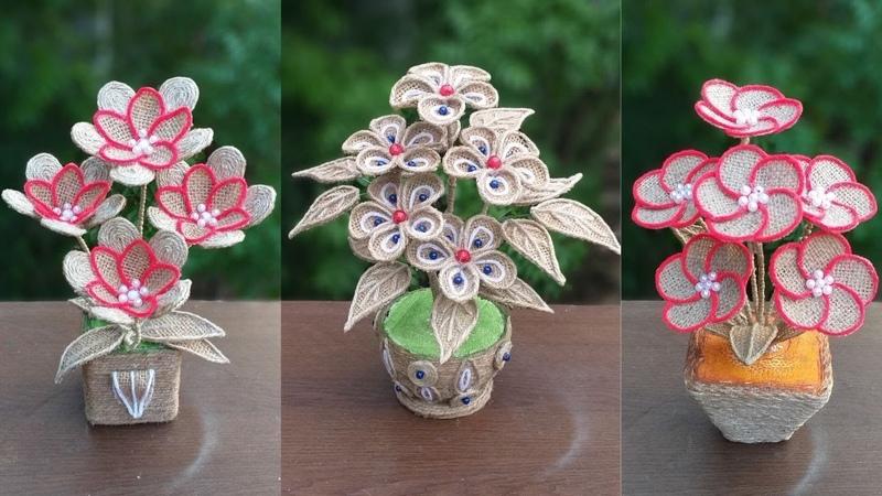 Best 3 Style Jute Burlap Flower Flower Vase Ideas   Jute Flower With Vase Showpiece For Home Decor