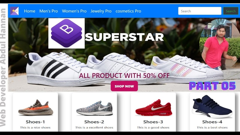 Complete e-commerce website design, how to create full responsive website use bootstrap 4, part-05,