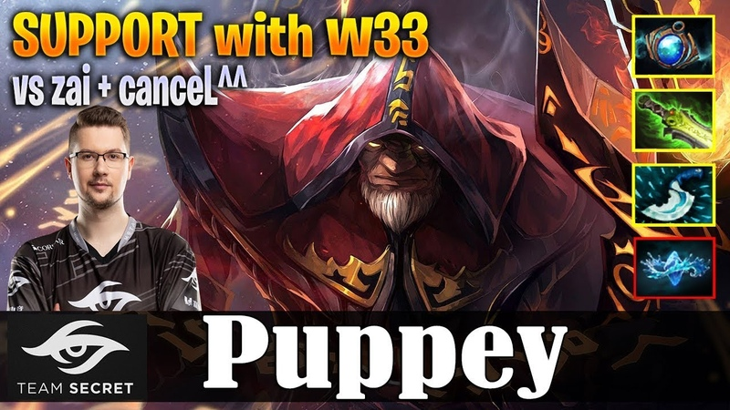 Puppey - Warlock Safelane   SUPPORT with w33   vs zai canceL^^   Dota 2 Pro MMR Gameplay