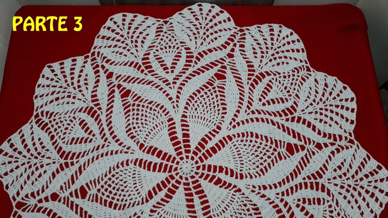 Toalha de crochê para mesa redonda parte 3