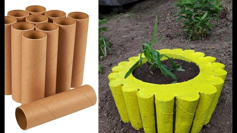 CREATIVE IDEAS of CEMENT Flower pot making Craft with cement Поделки из РУЛОНОВ из ВТУЛОК