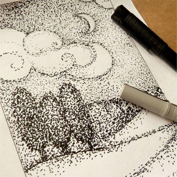 РИСУЕМ ПЕЙЗАЖ ТОЧКАМИ Техника рисования точками необычна, интересна и довольно проста в исполнении.Вооружитесь фантазией и вперед!Материалы:лист А5карандашластиккапиллярная ручка или