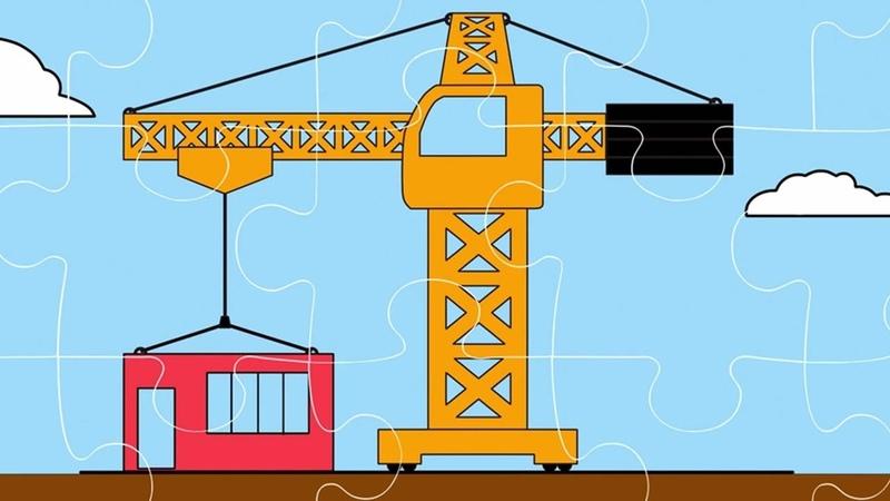 Интересный мультфильм для детей Пазл Строительный кран Экскаватор Трактор