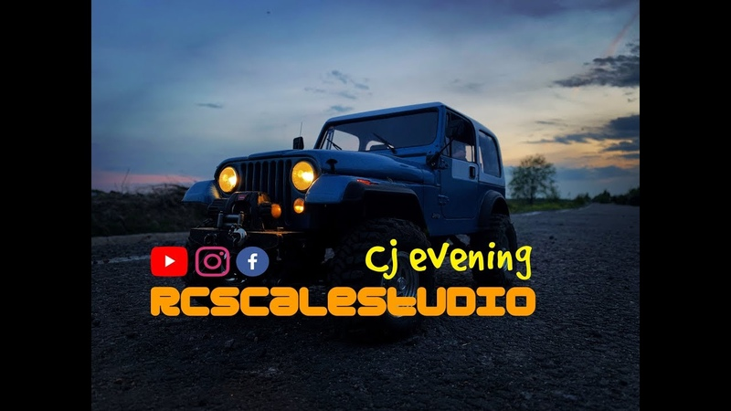 RcScalestudio 1 10 rc Jeep Cj scale run in evening forest