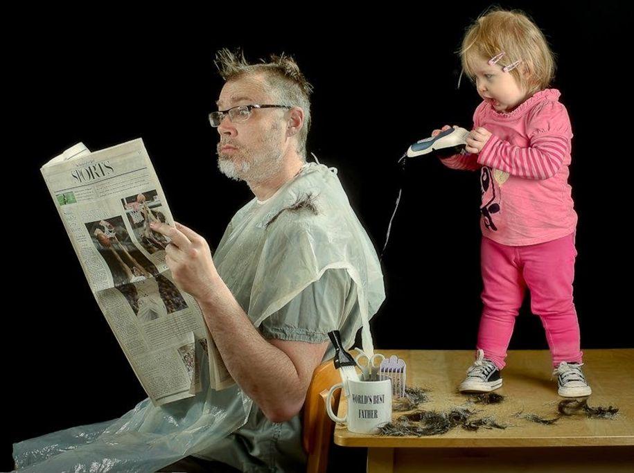 Мартом, смешная картинка дети и папа