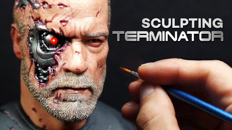 Sculpting Realistic Battle Damaged Terminator(T-800) Sculpture Timelapse - Dark fate Movie