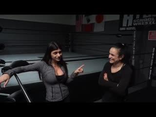 Wrestling Training with Thunder Rosa Mia Khalifa - arab brunette porn star