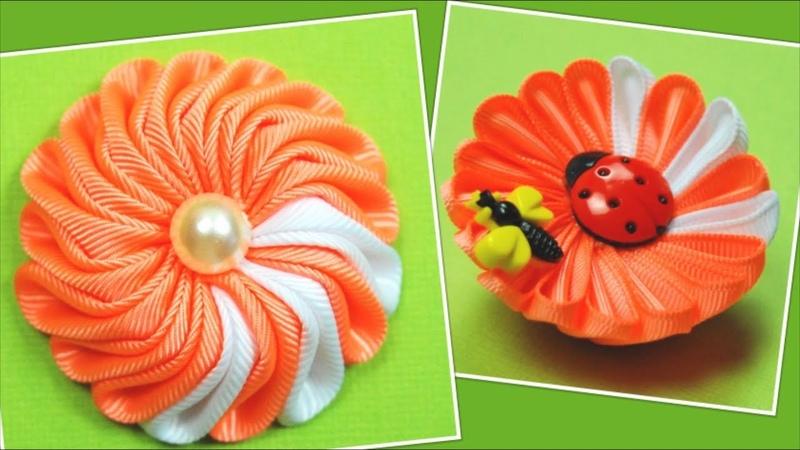 Двусторонний цветок Мастер класс Kanzashi flower Tutorial ✿ NataliDoma