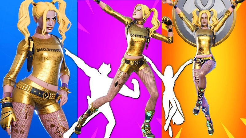 Golden Harley Quinn ALL 12 Built In Emotes Swole Cat Power Roar Xylo bone Peely Pulse and more