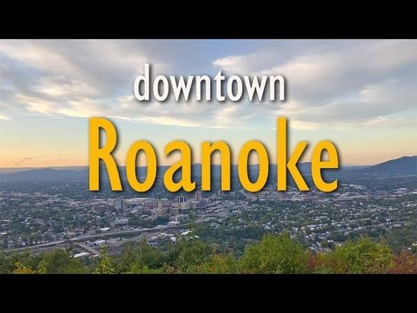 Beautiful Downtown Roanoke Virginia VA at Sunset in the Fall October 2019 Mill Mountain Star