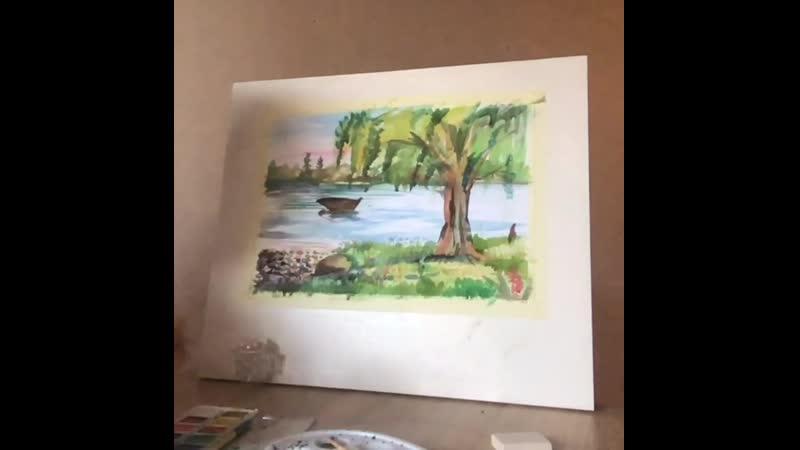 Возможно ли написать пейзаж за 20 минут красками из Ашана