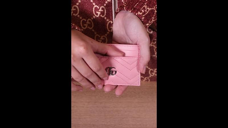 Женский холдер для пластиковых карт Marmont от Gucci из натуральной нежно розовой кожи