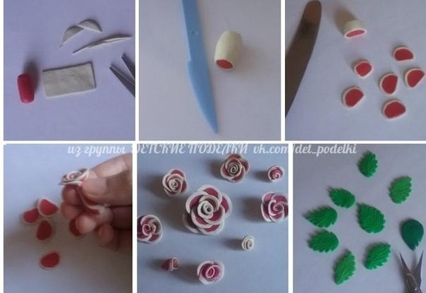 Открытка Розочки выполнены в технике разрезной пластилин (марка Луч, 18 цветов. Можно и из полимерной