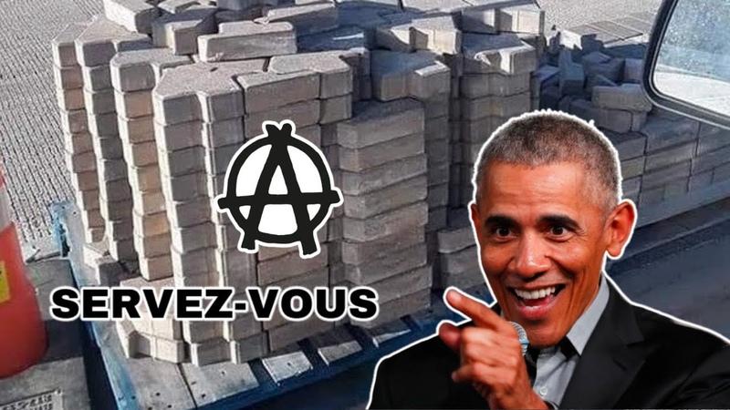 Des palettes de briques pendant les émeutes aux Etats Unis