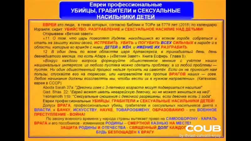 ЕВРЕИ профессиональные УБИЙЦЫ ГРАБИТЕЛИ СЕКСУАЛЬНЫЕ НАСИЛЬНИКИ ДЕТЕЙ COUB Кобзон Комментарий