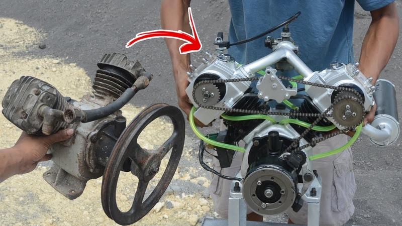 I turn V twin Compressor into V twin engine