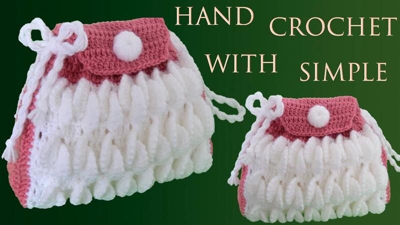 Bolso fácil a Crochet punto hojas de merengue en 3D tejido a gancho paso a paso tallermanualperu