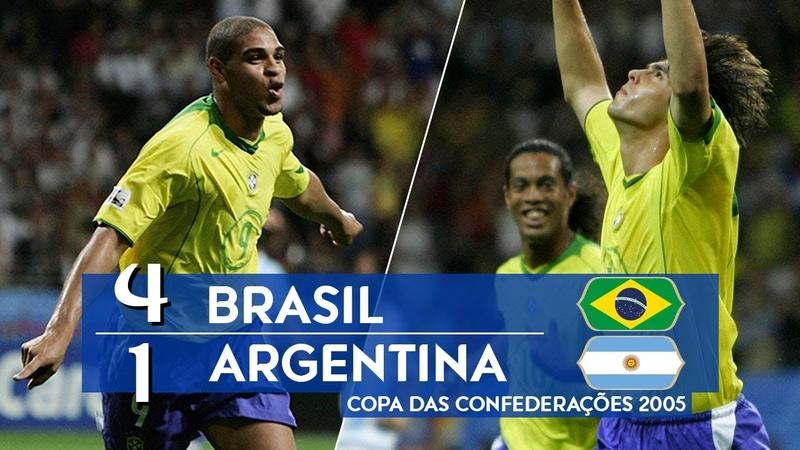 Brasil 4 x 1 Argentina melhores momentos GLOBO HD 720p Final da Copa das Confederações 2005