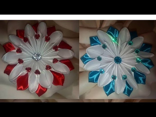 Цветочек бант Канзаши МКdiy kanzashi satijnen lint decoratie サテンリボンの花 Flower of satin ribbons