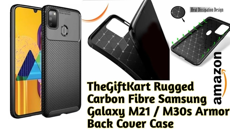 TheGiftKart Rugged Carbon Fibre Samsung Galaxy M21 M30s Armor Back Cover Case